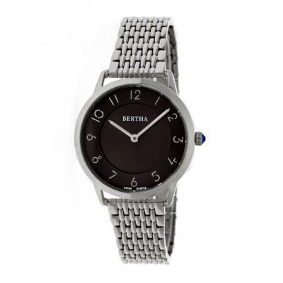 Bertha Abby Womens Silver Tone Bracelet Watch-Bthbr6802