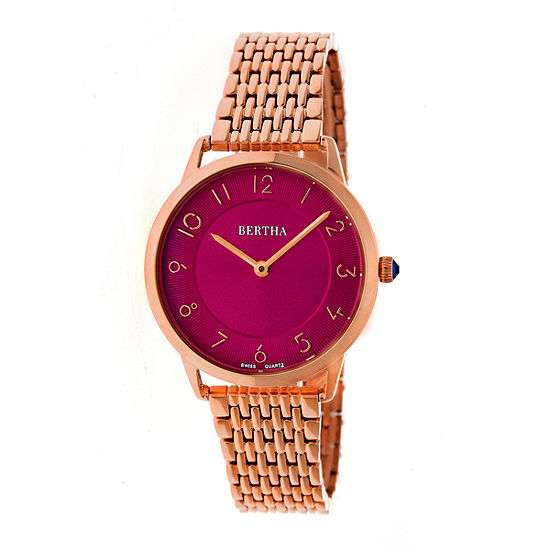 Bertha Abby Womens Silver Tone Stainless Steel Bracelet Watch-Bthbr6804