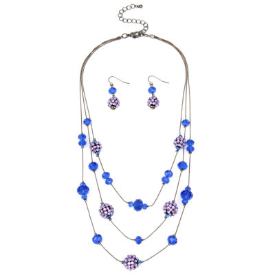 Mixit™ Hematite Blue Fireball Earring and Necklace Set