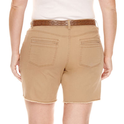 Unionbay Womens Mid Rise Stretch Midi Short-Juniors Plus