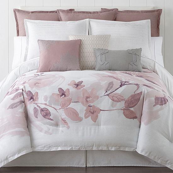 Liz Claiborne Blush Floral 4 Pc Floral Comforter Set