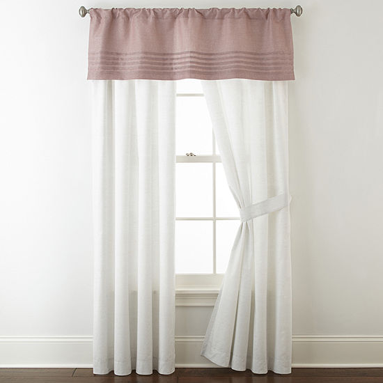 Liz Claiborne Blush Floral Rod Pocket Curtain Panel