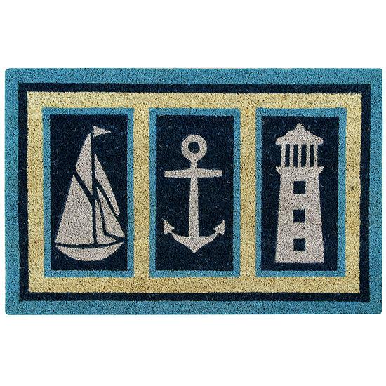 Better Trends Nautical Coir Printed Rectangular Outdoor Doormat
