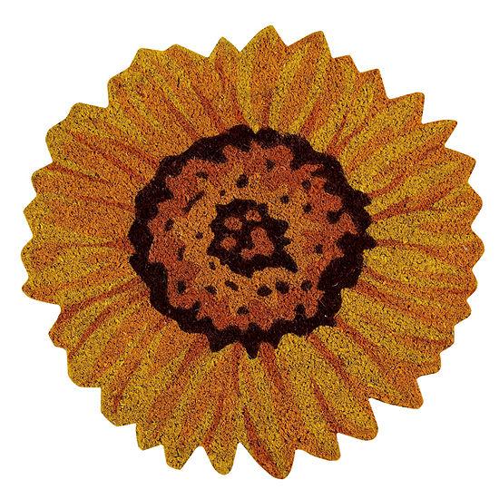 Better Trends Sunflower Coir Printed Round Outdoor Doormat