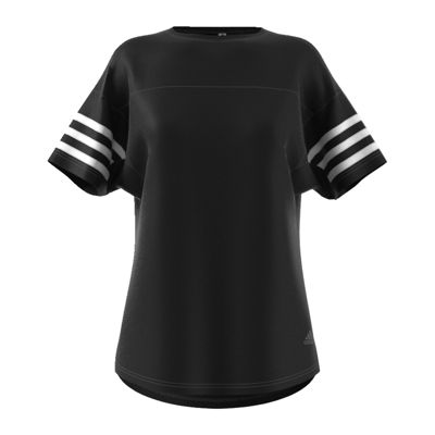 adidas Short Sleeve Crew Neck Stripe T-Shirt-Womens