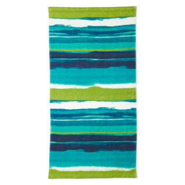 "Outdoor Oasis Sunset Stripe 30""x60"" Printed Beach Towel"