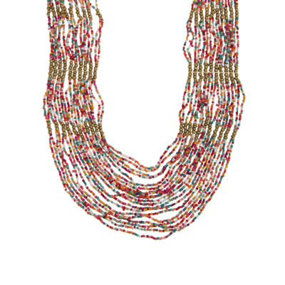 Decree Womens Brass Beaded Necklace
