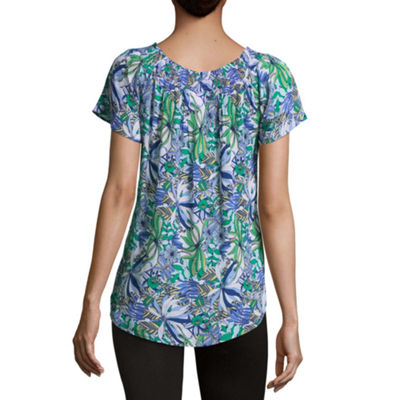 Liz Claiborne Womens Crew Neck Short Sleeve Blouse-Tall