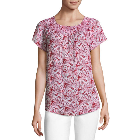 Liz Claiborne Short Sleeve Smock Neck Top - Tall