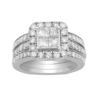 Womens 2 CT. T.W. Genuine White Diamond 10K Gold Engagement Ring
