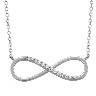 Diamonart Womens 1/5 CT. T.W. White Cubic Zirconia Sterling Silver Infinity Pendant Necklace
