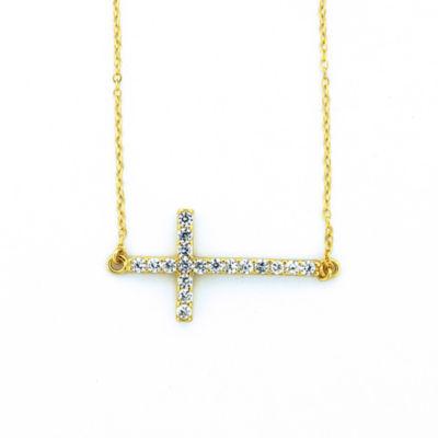 Diamonart Womens 1 CT. T.W. White Cubic Zirconia 18K Gold Over Silver Cross Pendant Necklace
