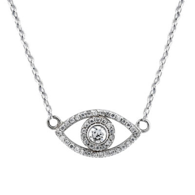 Diamonart Womens 5/8 CT. T.W. White Cubic Zirconia Sterling Silver Pendant Necklace