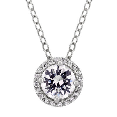 Diamonart Womens White Cubic Zirconia Sterling Silver Round Pendant Necklace