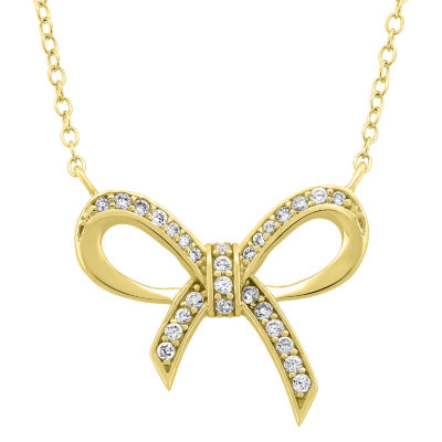 Diamonart Womens White Cubic Zirconia 18K Gold Over Silver Bow Pendant Necklace