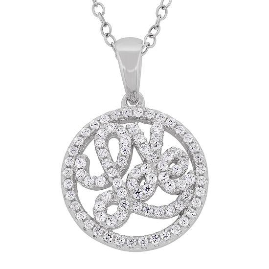 "DiamonArt® ""Love"" Womens 1 1/6 CT. T.W.  White Cubic Zirconia Sterling Silver Pendant Necklace"""