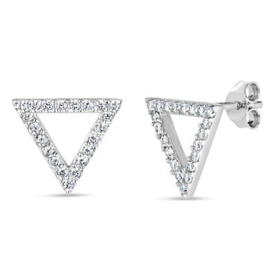 Diamonart 1/2 CT. T.W. White Cubic Zirconia Sterling Silver 11.7mm Stud Earrings