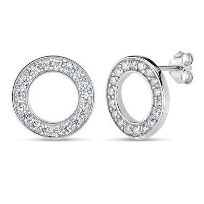 Diamonart White Cubic Zirconia Sterling Silver 11.8mm Stud Earrings