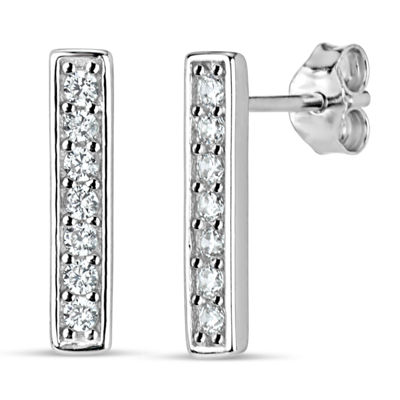 Diamonart White Cubic Zirconia Sterling Silver 13mm Stud Earrings