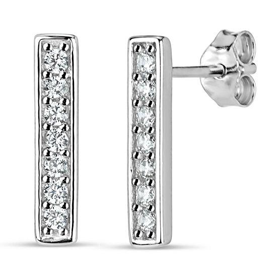 Diamonart White Cubic Zirconia Sterling Silver 13mm Stud Earrings