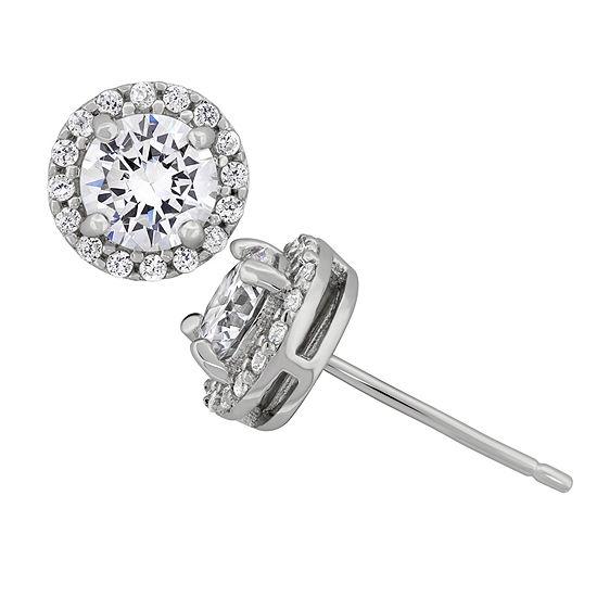 Diamonart White Cubic Zirconia Sterling Silver 7.2mm Stud Earrings