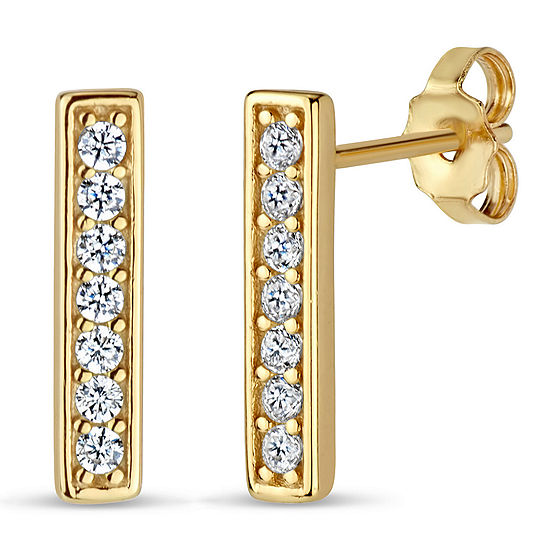 Diamonart White Cubic Zirconia 18K Gold Over Silver 13mm Stud Earrings