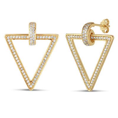 Diamonart 1 1/2 CT. T.W. White Cubic Zirconia 18K Gold Over Silver 27mm Stud Earrings