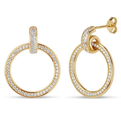 Diamonart 1 3/8 CT. T.W. White Cubic Zirconia 18K Gold Over Silver 25.4mm Stud Earrings