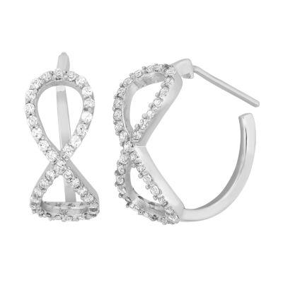 Diamonart White Cubic Zirconia Sterling Silver 21.6mm Stud Earrings