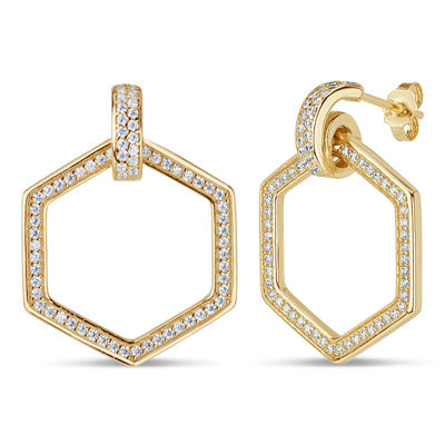 Diamonart White Cubic Zirconia 18K Gold Over Silver 22.2mm Stud Earrings