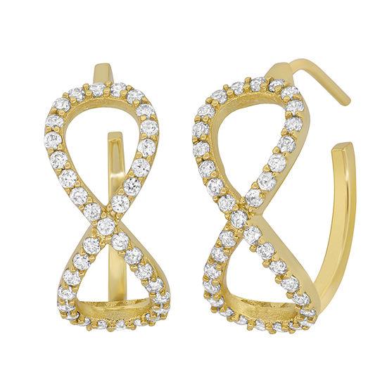 DiamonArt® White Cubic Zirconia 18K Gold Over Silver 21.6mm Stud Earrings