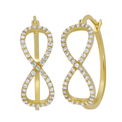 Diamonart 1 CT. T.W. White Cubic Zirconia 18K Gold Over Silver 21.6mm Stud Earrings