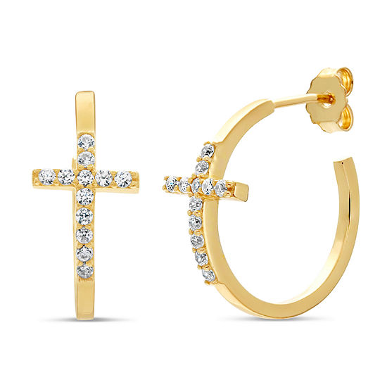 Diamonart 1/4 CT. T.W. White Cubic Zirconia 18K Gold Over Silver 11mm Stud Earrings