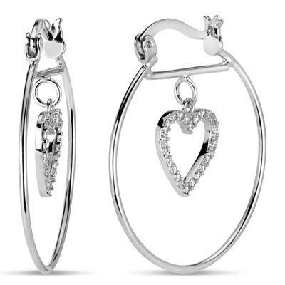 Diamonart 1/2 CT. T.W. White Cubic Zirconia Sterling Silver Hoop Earrings