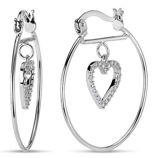Diamonart 1/2 CT. T.W. White Cubic Zirconia Sterling Silver 28mm Hoop Earrings
