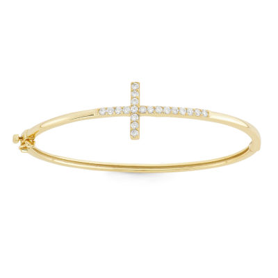 Diamonart Lab Created White Cubic Zirconia 18K Gold Over Silver Bangle Bracelet