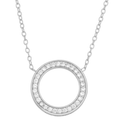 Diamonart Womens 1/3 CT. T.W. Lab Created White Cubic Zirconia Sterling Silver Round Pendant Necklace