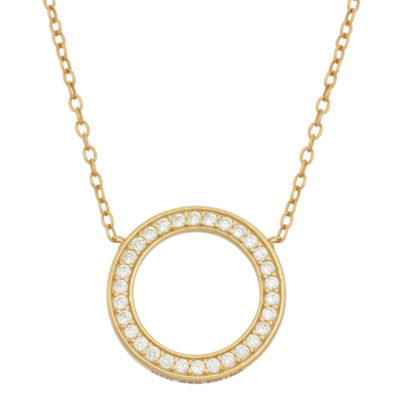 Diamonart Womens 1/3 CT. T.W. Lab Created White Cubic Zirconia 18K Gold Over Silver Round Pendant Necklace
