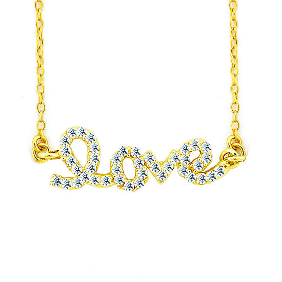 Diamonart Womens Lab Created White Cubic Zirconia 18K Gold Over Silver Pendant Necklace