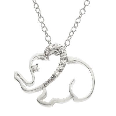 Diamonart Womens Diamond Accent Lab Created White Cubic Zirconia Sterling Silver Pendant Necklace