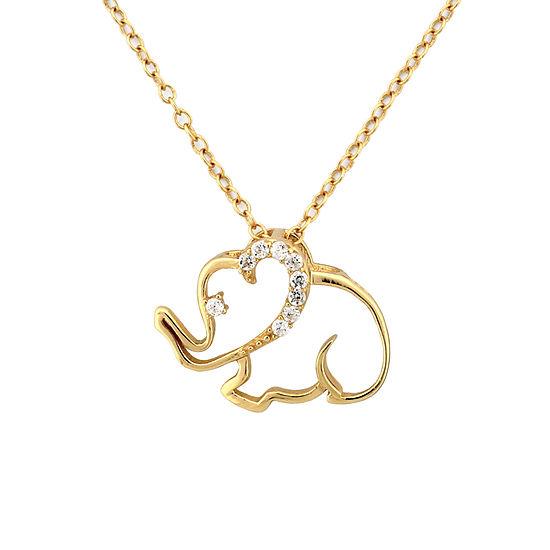 Diamonart Womens Diamond Accent Lab Created White Cubic Zirconia 18K Gold Over Silver Pendant Necklace