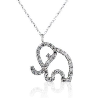 Diamonart Womens Lab Created White Cubic Zirconia Sterling Silver Pendant Necklace