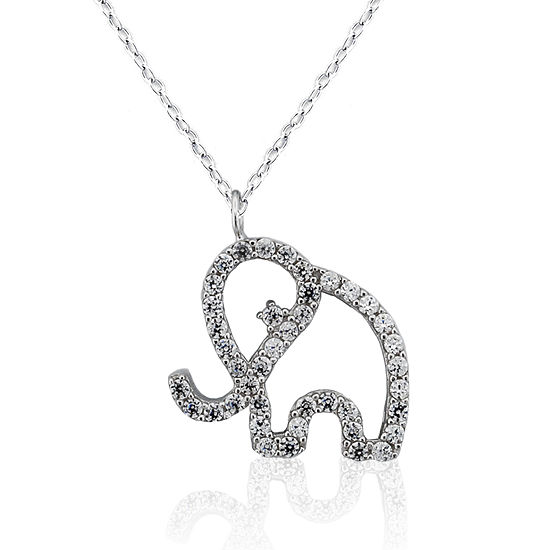 DiamonArt® Womens Lab Created White Cubic Zirconia Sterling Silver Pendant Necklace