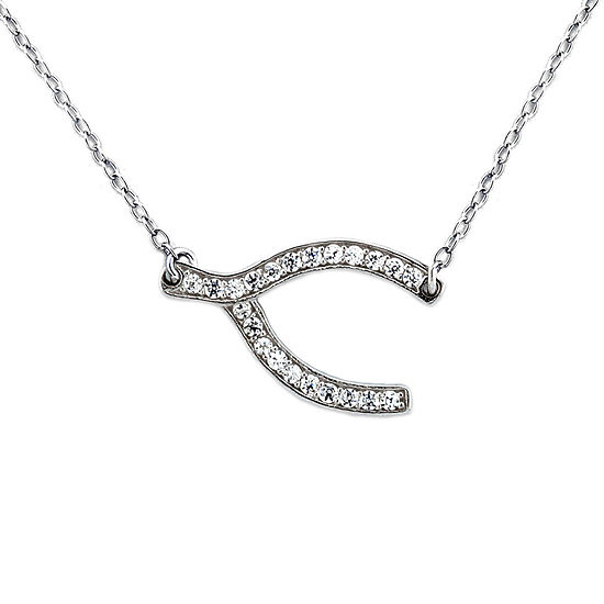 Diamonart Womens 1/4 CT. T.W. Lab Created White Cubic Zirconia Sterling Silver Pendant Necklace