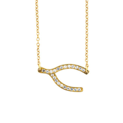 Diamonart Womens 1/4 CT. T.W. White Cubic Zirconia 18K Gold Over Silver Pendant Necklace