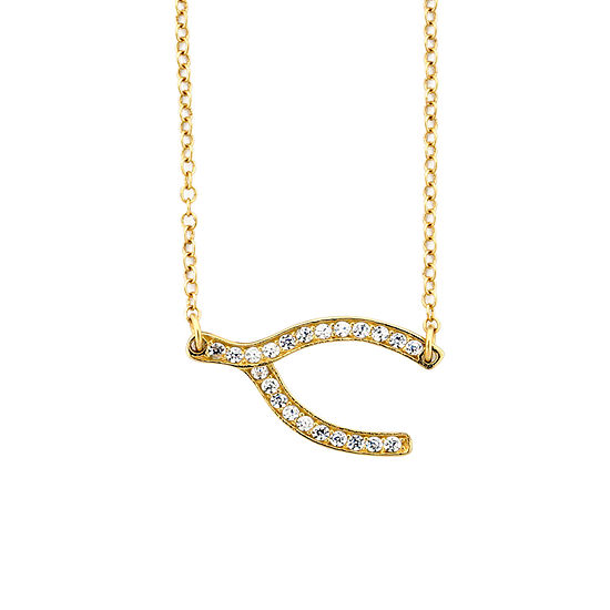 DiamonArt® Womens 1/4 CT. T.W. Lab Created White Cubic Zirconia 18K Gold Over Silver Pendant Necklace