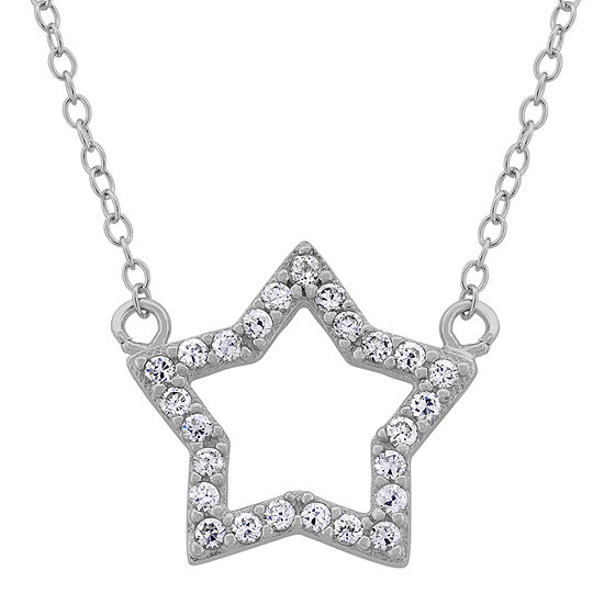 Diamonart Womens 1/2 CT. T.W. Lab Created White Cubic Zirconia Sterling Silver Star Pendant Necklace