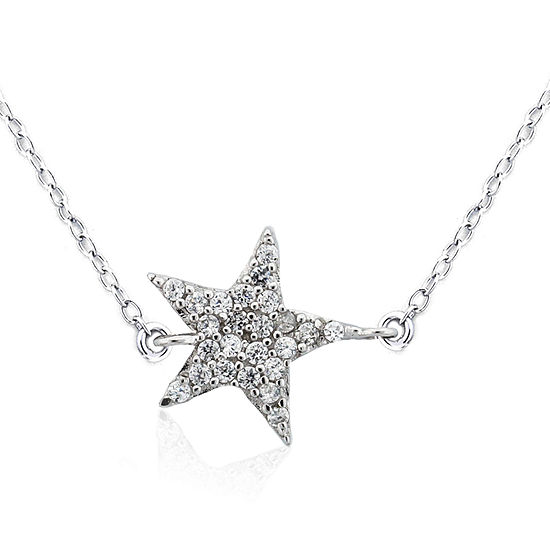 DiamonArt® Womens 1/3 CT. T.W. Lab Created White Cubic Zirconia Sterling Silver Star Pendant Necklace