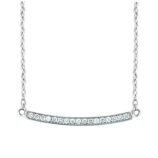 Diamonart Womens 1/3 CT. T.W. Lab Created White Cubic Zirconia Sterling Silver Pendant Necklace