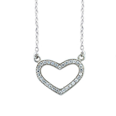 Diamonart Womens 1/3 CT. T.W. Lab Created White Cubic Zirconia Sterling Silver Heart Pendant Necklace